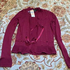 Berry cardigan with silk tie